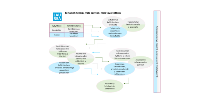 Tässä kuviossa kuvataan kehittämisprojektin toimijoiden näkökulmasta (työyhteisö ja asukkaat sekä opiskelijat ja hanketoimijat), mitä projektin eri vaiheet tuottivat.